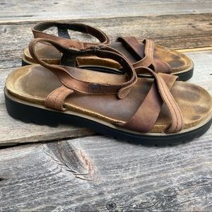 Naot Brown Leather Strappy Sandals